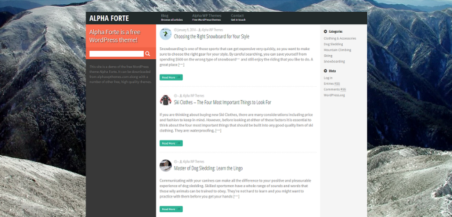 Alpha Forte   Alpha Forte is a free WordPress theme!