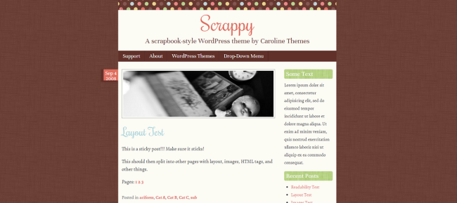 Scrappy   A scrapbook-style WordPress theme by Caroline Themes