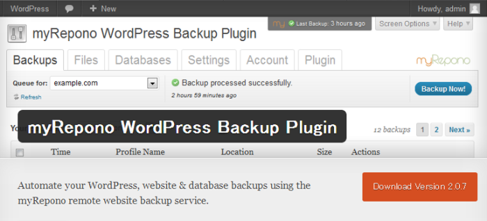 WordPress › myRepono WordPress Backup Plugin « WordPress Plugins (1)